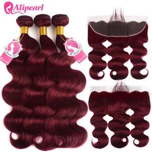 Image 3 - 99j חבילות עם פרונטאלית סגירה ברזילאי שיער Weave חבילות ורגונדי גוף גל 3 חבילות עם חזיתי רמי AliPearl שיער