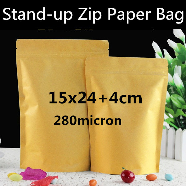 New 100pcs lot 15 x 24cm 4cm 5 9 9 4 Kraft Paper Doypack Bag