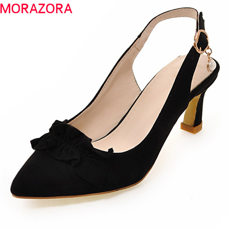 MORAZORA 2018 new women pumps spring summer top quality flock fashion shoes elegant pointed toe comfortable high heel shoes new spring summer women pumps classic flock high heeled wedding shoes thin pink high heel shoes hollow pointed stiletto elegant