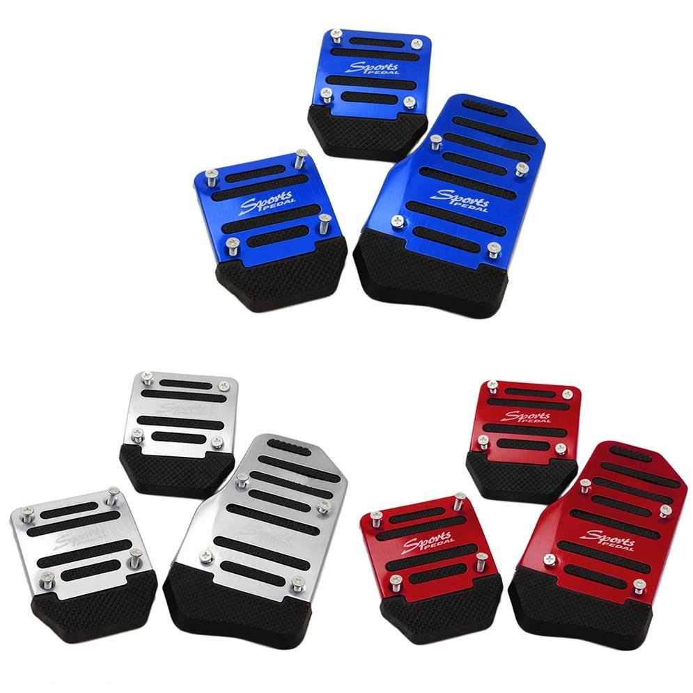 3 adet otomobil araç kaymaz alaşımlı ped pedalı alüminyum ayak Pedal kapağı azaltmak ayak yorgunluk sürüş için güvenli