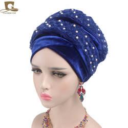 Новый Для женщин шикарный украшенный бусами 3D цветок длинный вельветовый тюрбан хиджаб платок роскошный голову обертывания Turbante