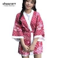 Cheerart Floral Print Kimono Cardigan Women Summer Beach Cover Up Blouse Japanese Vintage Kimono 2017