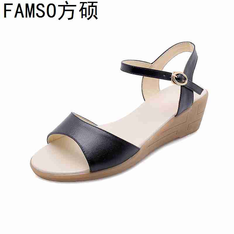 FAMSO 2019 New Shoes Women Sandals Genuine Leather Wedges High Heels Peep toe High Heels Size