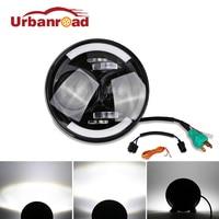 Fishberg 1PC 6000k 60w 12v 7 Inch Led Headlights Round With DRL Headlamp Hi Lo Beam