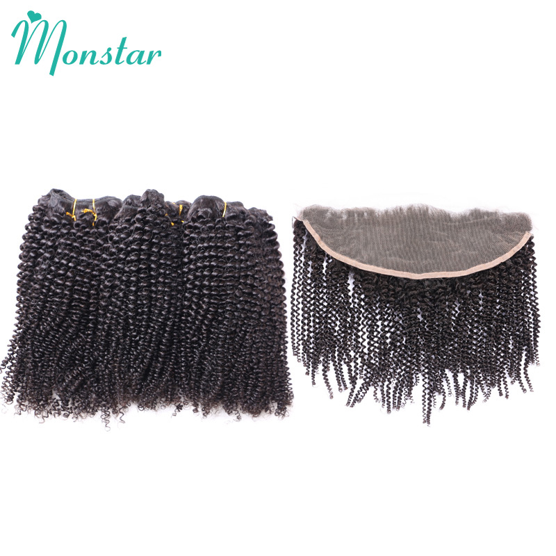 Monstar Human Hair Frontal with 3 Bundle Natural Color Afro Kinky Curly Peruvian Virgin Hair Weave with Frontal Lace Top Closure