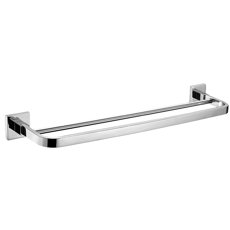 Contemporary  Silver SUS 304 Stainless Steel Bathroom  Double Layer Towel Bar Modern Bathroom Towel Rack 60cm Length 304 stainless steel bathroom towel rack bar hangers more