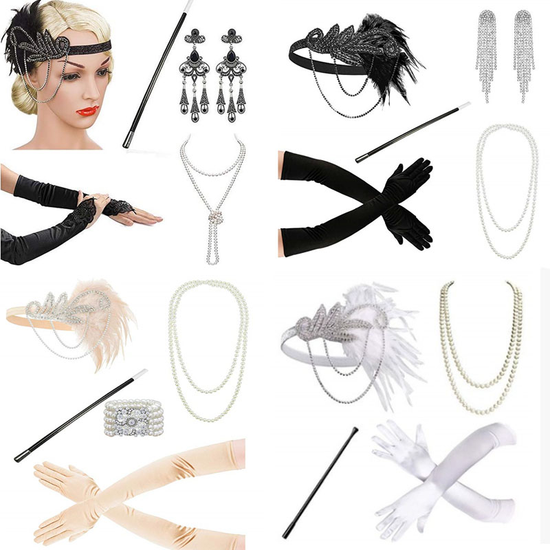White  1920's Headband Flapper Charleston Costume Accessories Pink Headpiece Great Gatsby Feather Headband