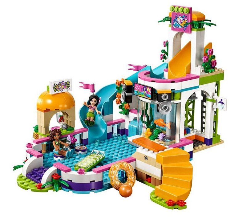 Lepin 01013 City Friends 589pcs Girls Club The Heartlake Summer Pool Set Compatible Legoed 41313 Building Blocks Bricks toy Gift waz compatible legoe friends 41313 lepin 01013 589pcs building blocks the heartlake summer pool bricks figure toys for children