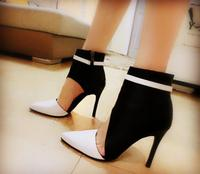 New Arrival White And Black Faux Leather Women Pointy Toe Ankle Boots Sexy Cut Out Style Ladies High Heel Boots Party Shoes
