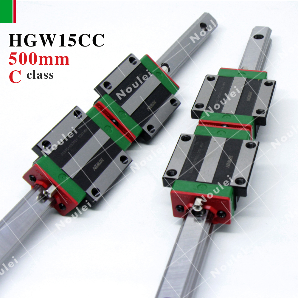 HIWIN New HGW15CA HGW15CC Guias Lineales Rails with guide rail HGR15 500mm of cnc kit High efficiency HGW15 hiwin hgr15 linear guide rail 500mm rod for slider hgw15 hgh15 high efficiency cnc parts