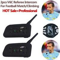 2pcs V6C Football Referee Headset BT Intercom Full Duplex 2Users 1200M Interphone Max 6Users Bluetooth Wireless