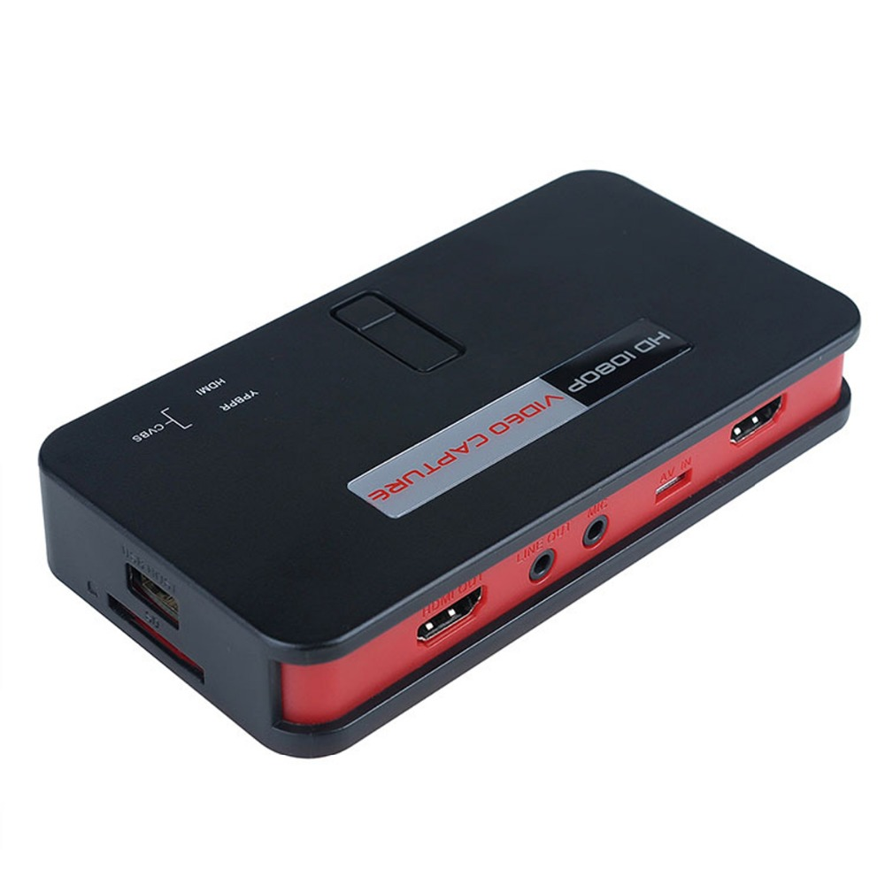 eZcap284 1080P HD Video Game Capture HDMI Recorder Card HDMI/AV/Ypbpr TV Video Recorder With Remote Control Support Mic USB Disk