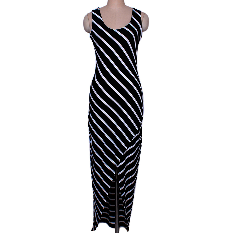 575186409d2 Gogoyouth Maxi Women Summer Dress 2018 Casual Tunic Beach Sundress For Women  Black Bodycon Striped Long Party Dress Robe Femme-in Dresses from Women s  ...