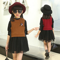 2016 New Fashion Clothing Sets Children's Veil +  Waistcoat Suit Girls Fall Two-piece Children's Clothes