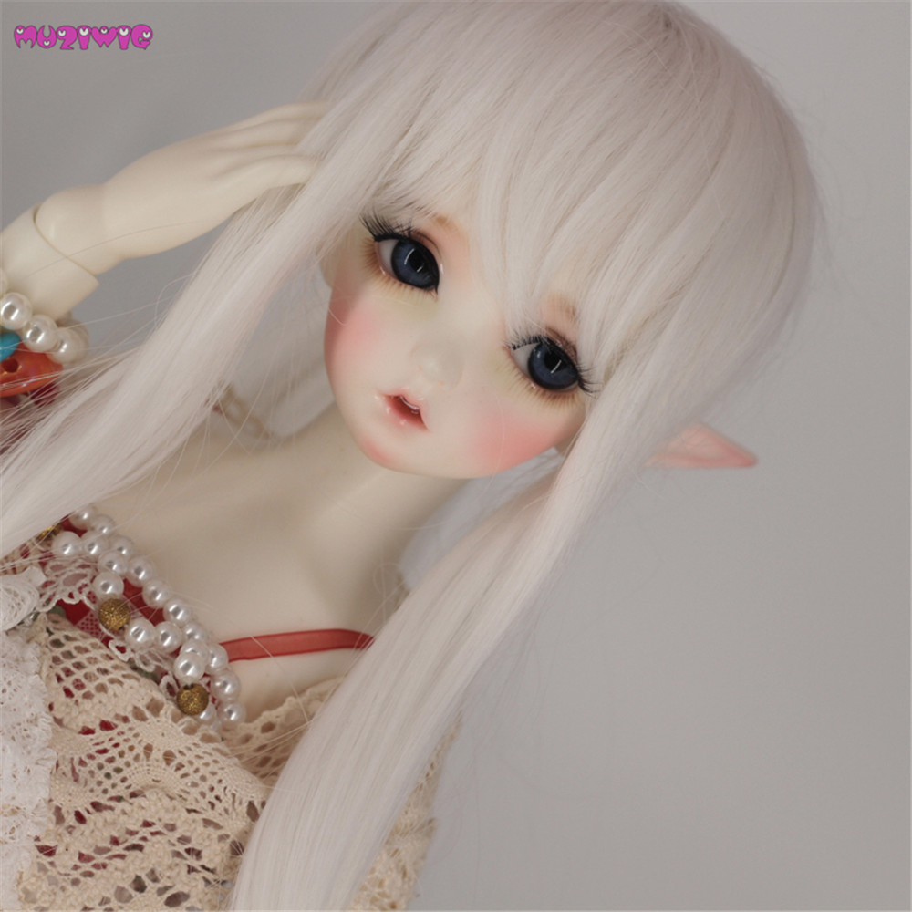 Humble Free Shipping Muziwig High Temperature Wire Long Straight 1/3 1/4 Bjd Doll Wigs With Ponytail Doll Accessories