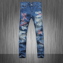 Light Blue Color,2015 New Summer Printed Jeans Men,Famous Brand Men Jeans,Retail&Wholesale,Cotton Denim Mens Jeans,MB550 Z20