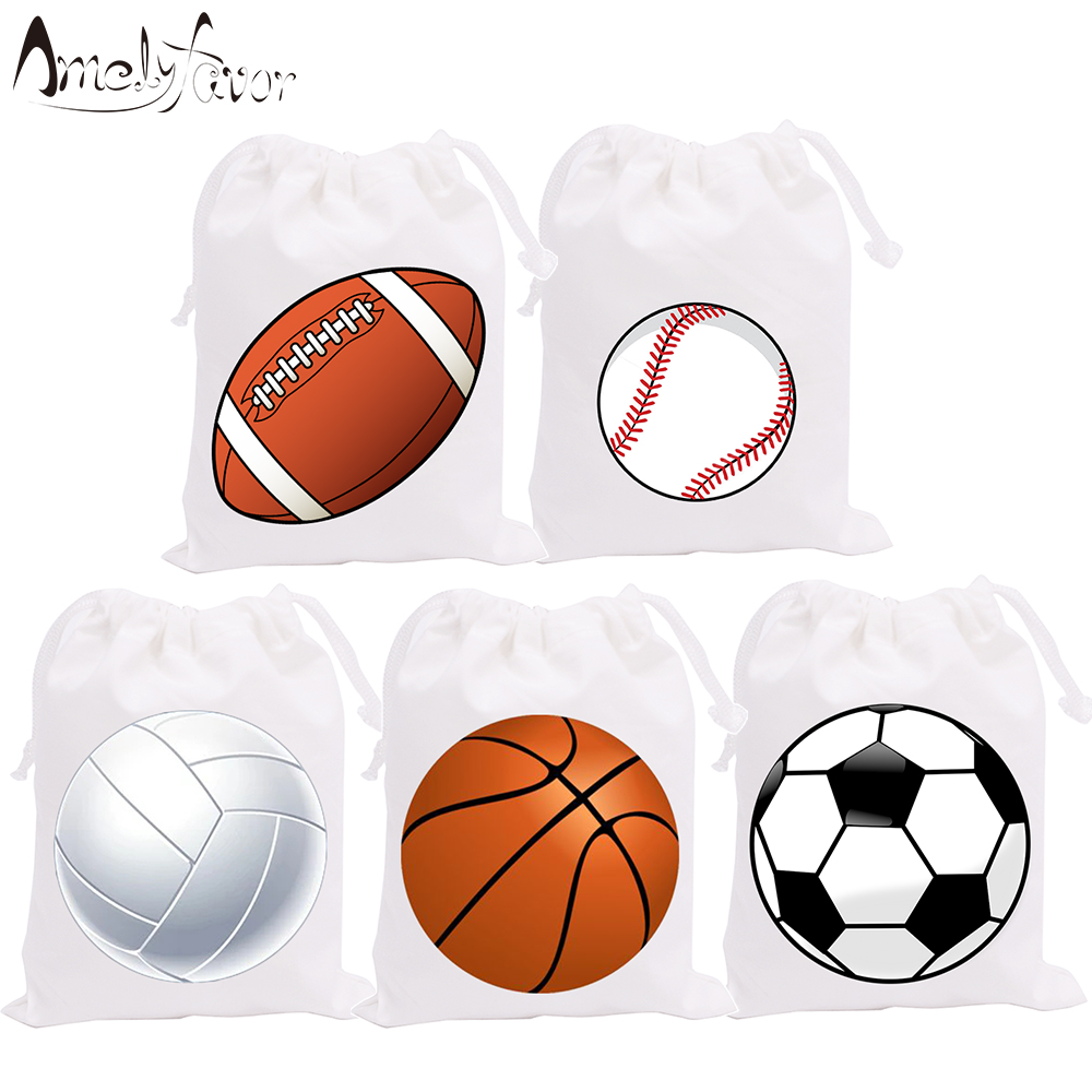 Sport Theme Party Favor Bags Candy Bags Basketball Football Volleyball Baseball Birthday Gift Bags Party Container Supplies 5PCS