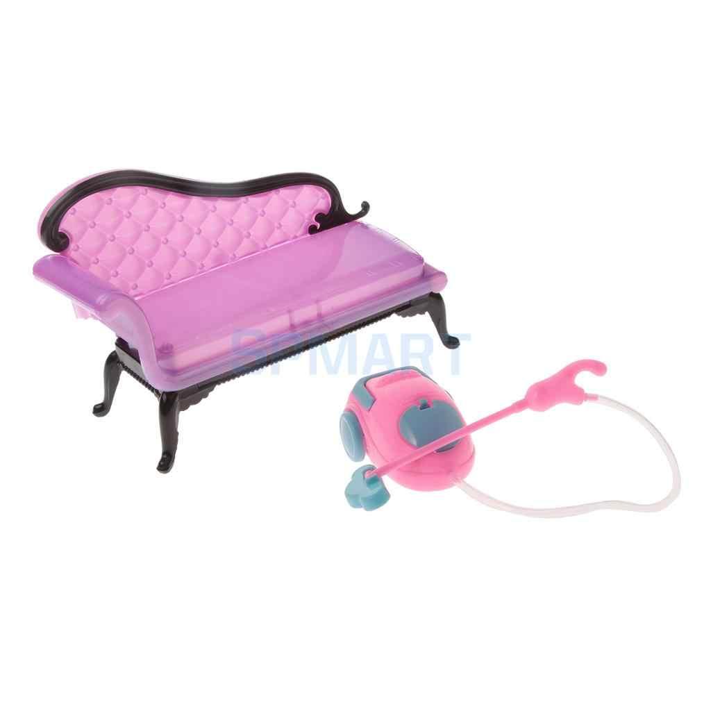 1/6 Skala Panjang Plastik Sofa Sofa & Vacuum Cleaner Set Furniture untuk Boneka Rumah Ruang Tamu Dekorasi Aksesoris Berpura-pura Bermain mainan