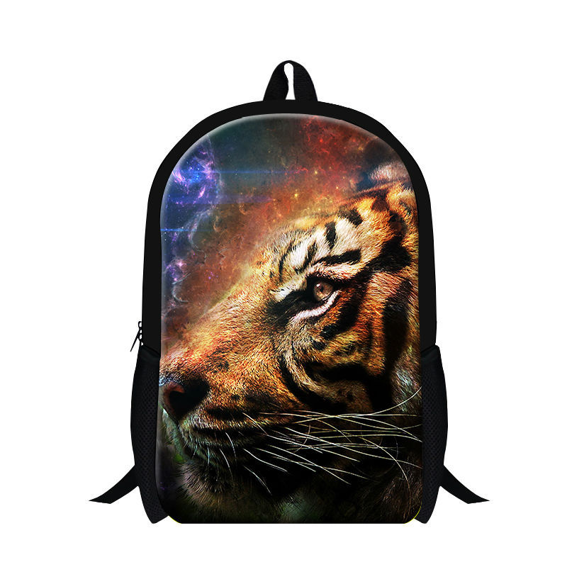 Cool 3D tiger printing backpack for boys animal school bookbags for children,fashion school bags for teenagers lion day packs