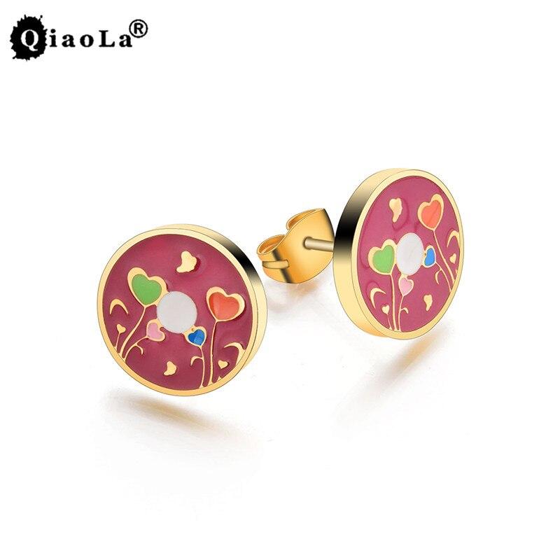 Qiao La Fashion Jewelry Gold Color Women Enamel Earrings Stainless Steel Lovely Simple Female Stud Earring Accessorize wholesale