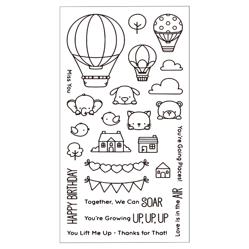 Hot Air Balloon Animals Clear Silicone Rubber Stamp for DIY Scrapbooking/photo Album Decorative Craft Clear Stamp Chapter lovely animals and ballon design transparent clear silicone stamp for diy scrapbooking photo album clear stamp cl 278