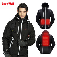 SNOWWOLF 2019 Men Winter Ski Suit USB Heated Hooded Jacket Male Outdoor Waterproof Windproof Breathable Thermal Snowboard Coat