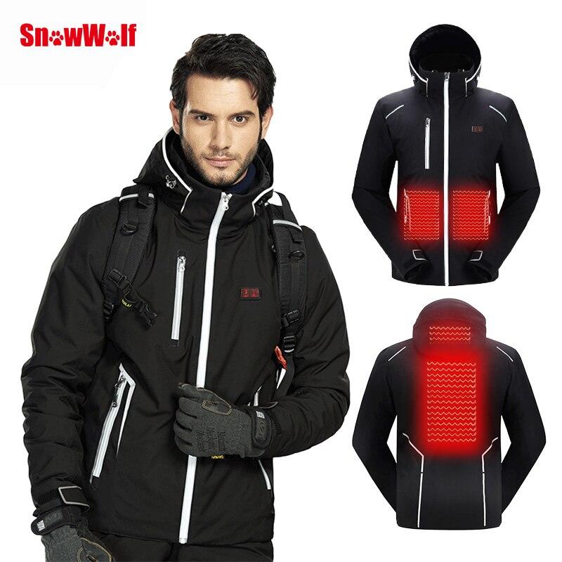 SNOWWOLF 2019 hommes hiver Ski costume USB chauffé à capuche veste mâle extérieur imperméable coupe-vent respirant thermique Snowboard manteau