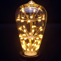 Ahtoh 2PCS ST64 2W Vintage Edison Design E26 2700K Not Dimmable Beautiful And Romantic Starry Decorative