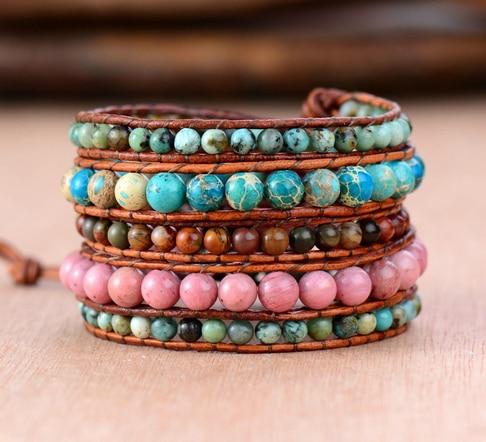Women Leather Bracelet Natural Stones Vintage Leather Wrap Bracelet Beaded Weaving Cord Bracelet Leather Jewelry Factory
