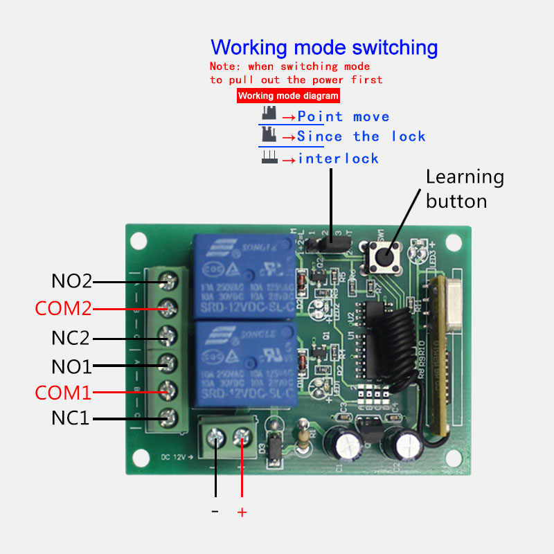 433 MHz รีโมทคอนโทรลไร้สายสวิทช์ DC24V 2CH รีเลย์ตัวรับสัญญาณรีเลย์ & RF 433 MHz สำหรับสวิทช์ไฟ