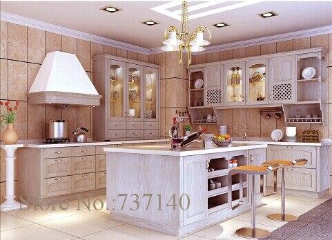 Kitchen Island Oak Wood Kitchen Cabinet Customized Furniture