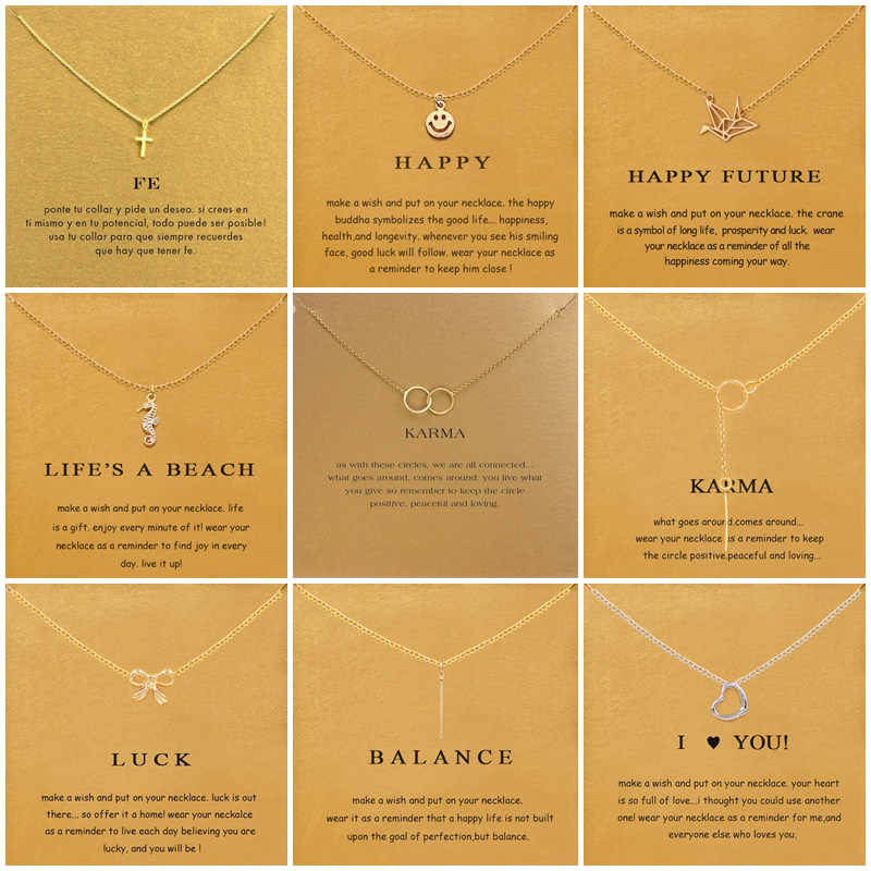 9 Styles Cross Smiley Face Thousand Paper Crane Pendant Necklace For Women Minimalist Chain Choker Necklaces Gift Card Jewelry
