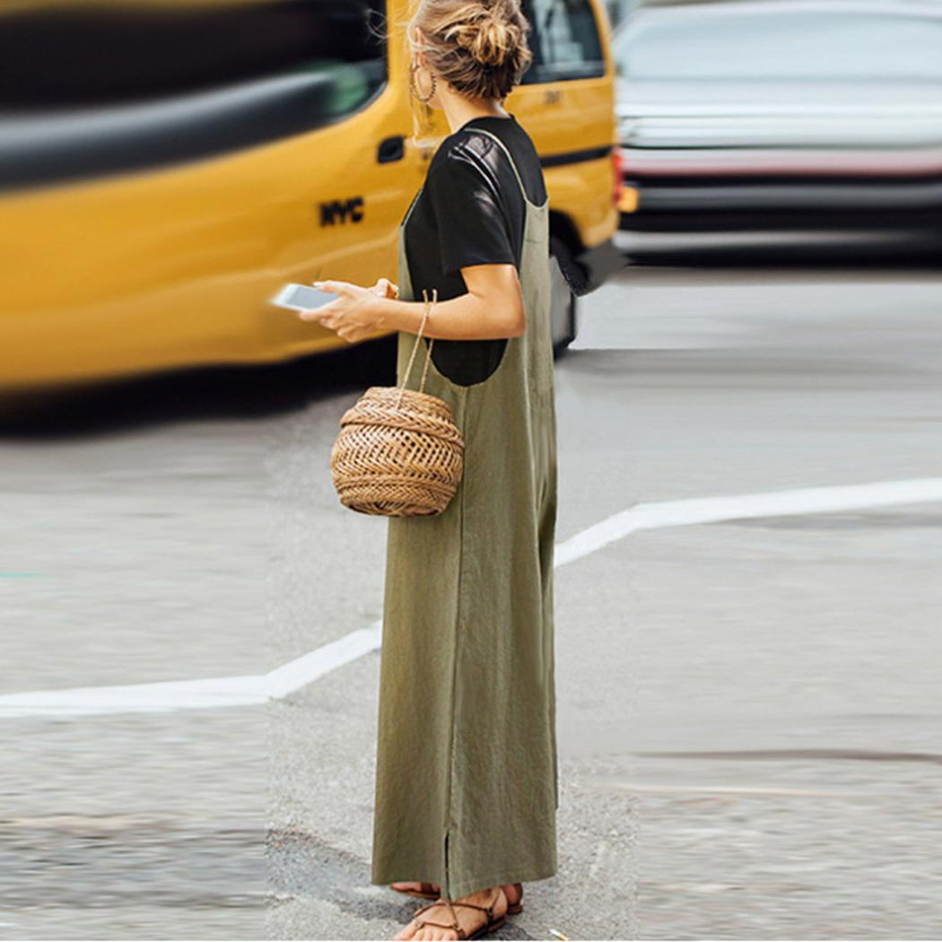 Women Casual Spaghetti Strap Solid Loose Pockets Ankle Summer Length Bib Pants(China)