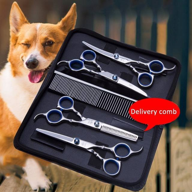 Hot Sale Pet Hair Cut Colorful Scissors Clippers Flat Tooth Cut Pets Beauty Tools Set Kit Dogs Grooming Hair Cutting Scissor Set