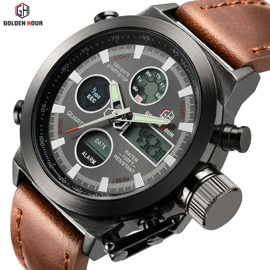 Men Swimming Quartz Analog Outdoor Sports Watches Military  Male Clock Hour With Leather Strap