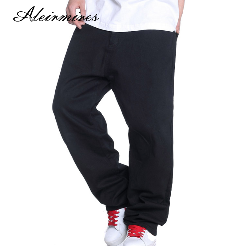 Hip Hop Black Jeans Men 2018 New Fashion Large Size Loose Straight Denim Pants Wide Leg Hiphop Streetwear Skateboarder Jeans euramerican style baggy hip hop men jeans widened increase skateboard pants comfortable mid waist casual mens streetwear jeans