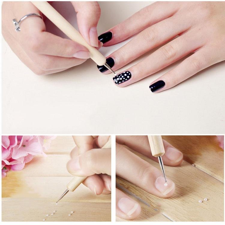 5Pcs/Set Dual End nail Pen art Dotting 2 Ways Wooden pole UV Gel ...