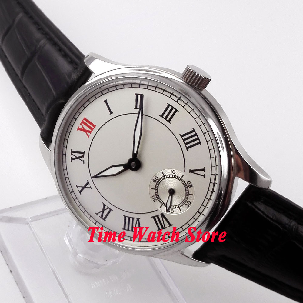 Parnis watch 44mm white dial Roman numerals 6498 mechanical hand winding movement Men's watch 30 цена