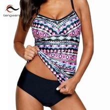 8f56661a9b278a 2018 Vintage Print Bikini Badmode Vrouwen Twee Stukken Badpak Tankini Set  Badpak Vrouwelijke Sport Plus Size Zwemmen Pak S-5XL