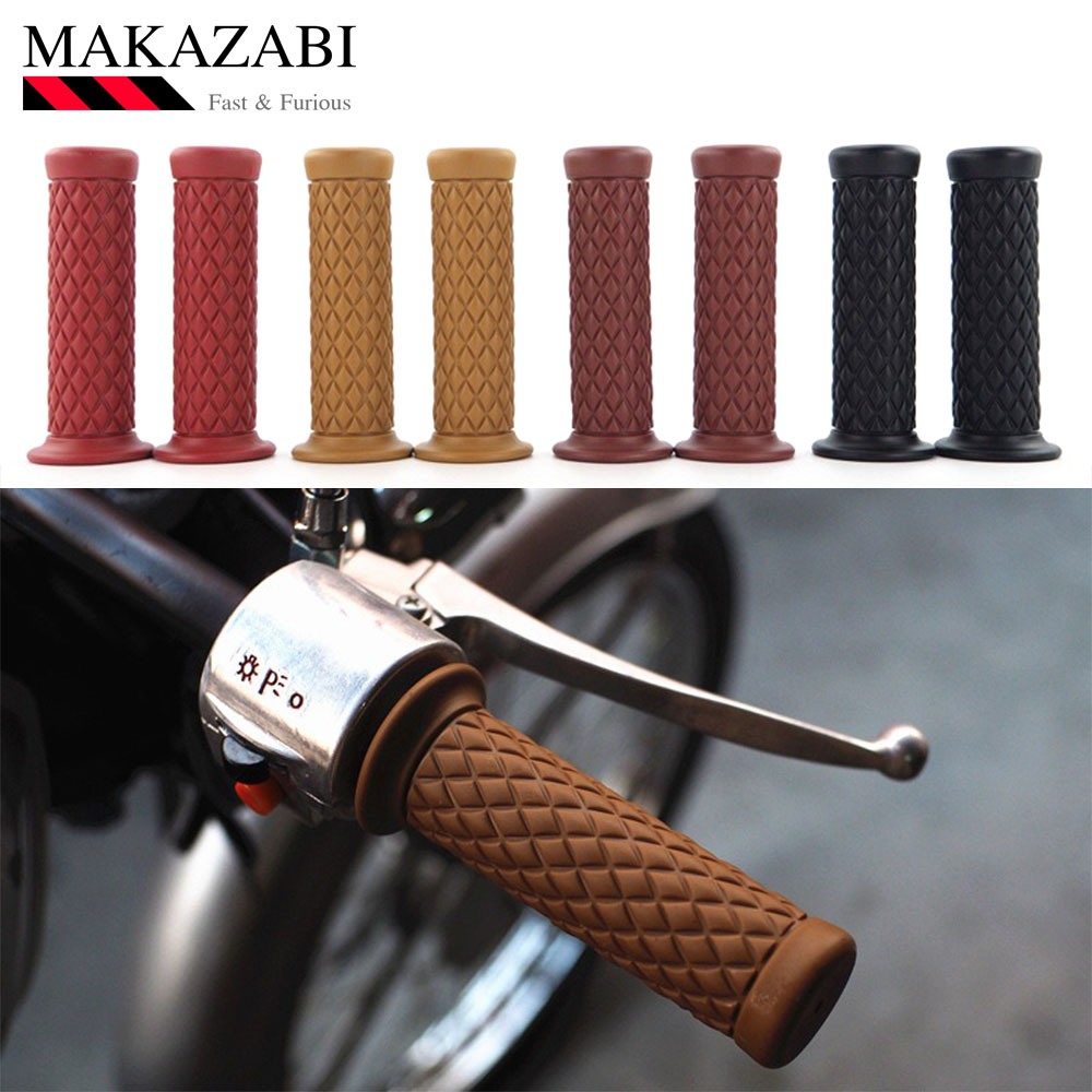 New Vintage Cafe Racer Motorcycle Hand Grips Rubber Handle Bar 7/8