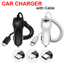 USB Car Charger With Type-c Micro Cable For Samsung S7 Edge