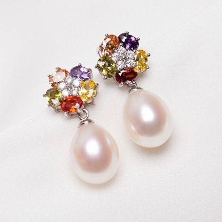 Women Gift word 925 Sterling silver real Colored crystal flower Natural Freshwater Pearl Earrings 3 color