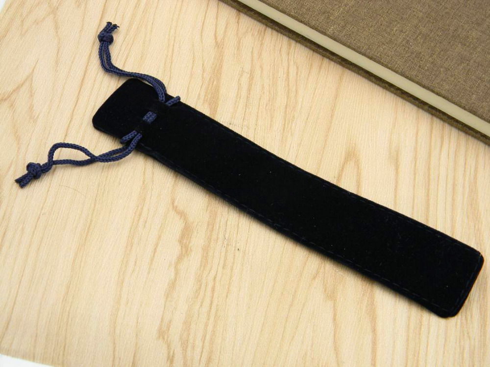 1pc Flannel Black Metal Pen Office School 17*5*3.5CM Gift Pen Case