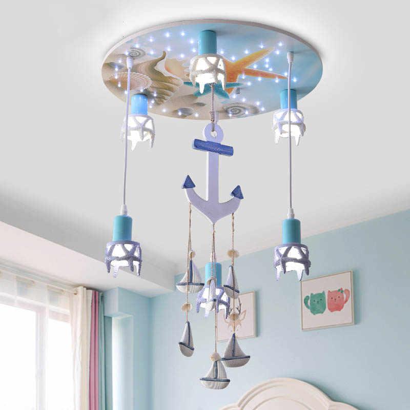 Modern Wood Ship Anchor Ceiling Light