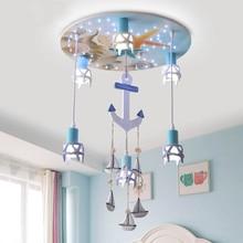 купить modern wood ship anchor ceiling light for nursery boy children bedroom girl baby room creative LED cartoon lighting fixture E27 по цене 9346.33 рублей