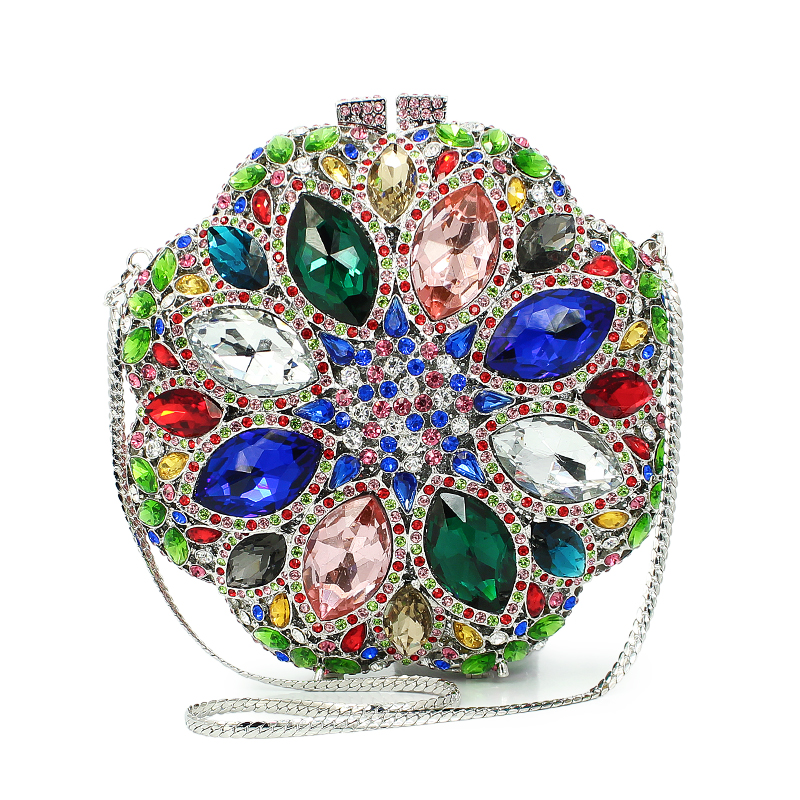 Pochette de soirée en forme de fleur multi couleur diamant cristal embrayage sac à main dames (8795A-GB)