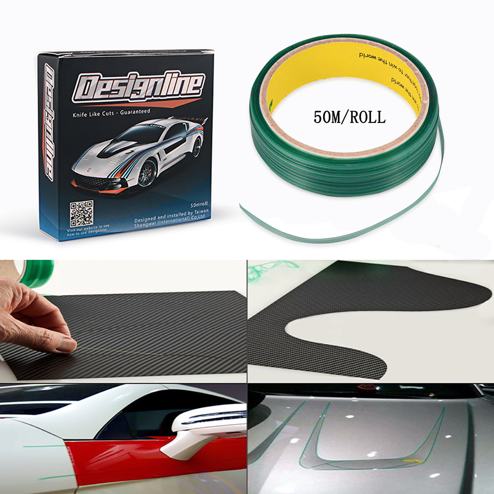 EHDIS 50M Vinyl Wrap Knifeless Tape Design Line Car Sticker Decal Cutting Tape Carbon Foil Film Cut Tool Auto Cutter Accessories-in Car Stickers from Automobiles & Motorcycles