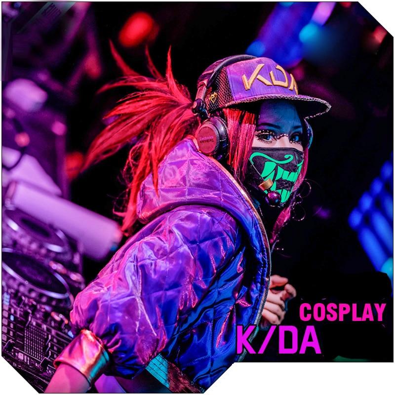 2019 kda akali 코트 게임 lol k/da 코스프레 의상 소녀 kda akali jacket coat 가역 a & b embrodiery hoodie top 여성용-에서베이식 쟈켓부터 여성 의류 의  그룹 1