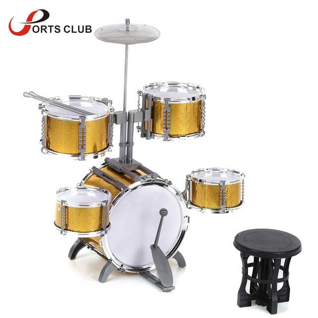 Compact Size Drum Set Children Kids Musical Instrument Toy 5 Drums