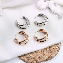 Europe America Hyperbolic Vintage INS Multi-layer Round Circle Simple Hoop Earrings Fashion Jewelry-LAF